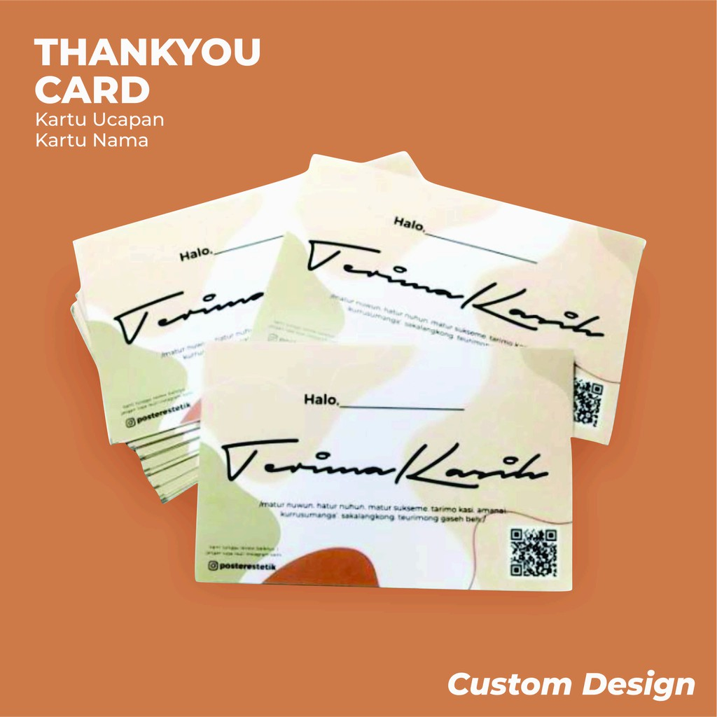 THANKYOU CARD CUSTOM Online Shop   ISI 100PCS   5.5x9cm ...