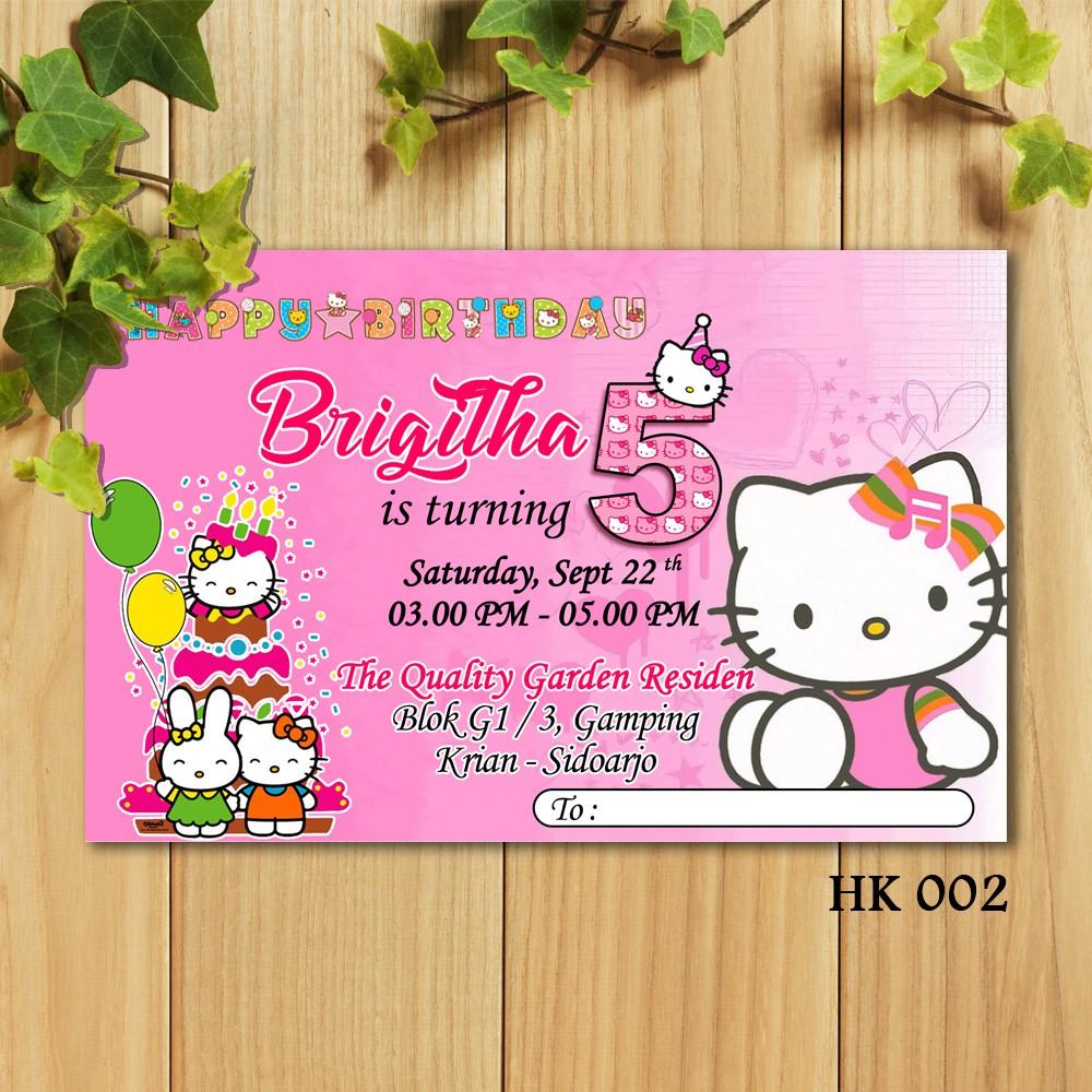 Afy Undangan 20pcs Undangan Ulang Tahun Tema Hello Kitty Birthday Card Shopee Indonesia