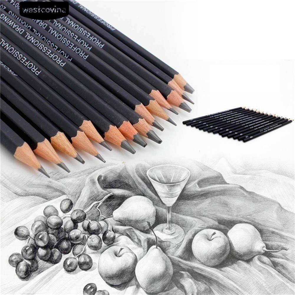 14pcs set pensil lukis profesional 6h 12b untuk pelajar