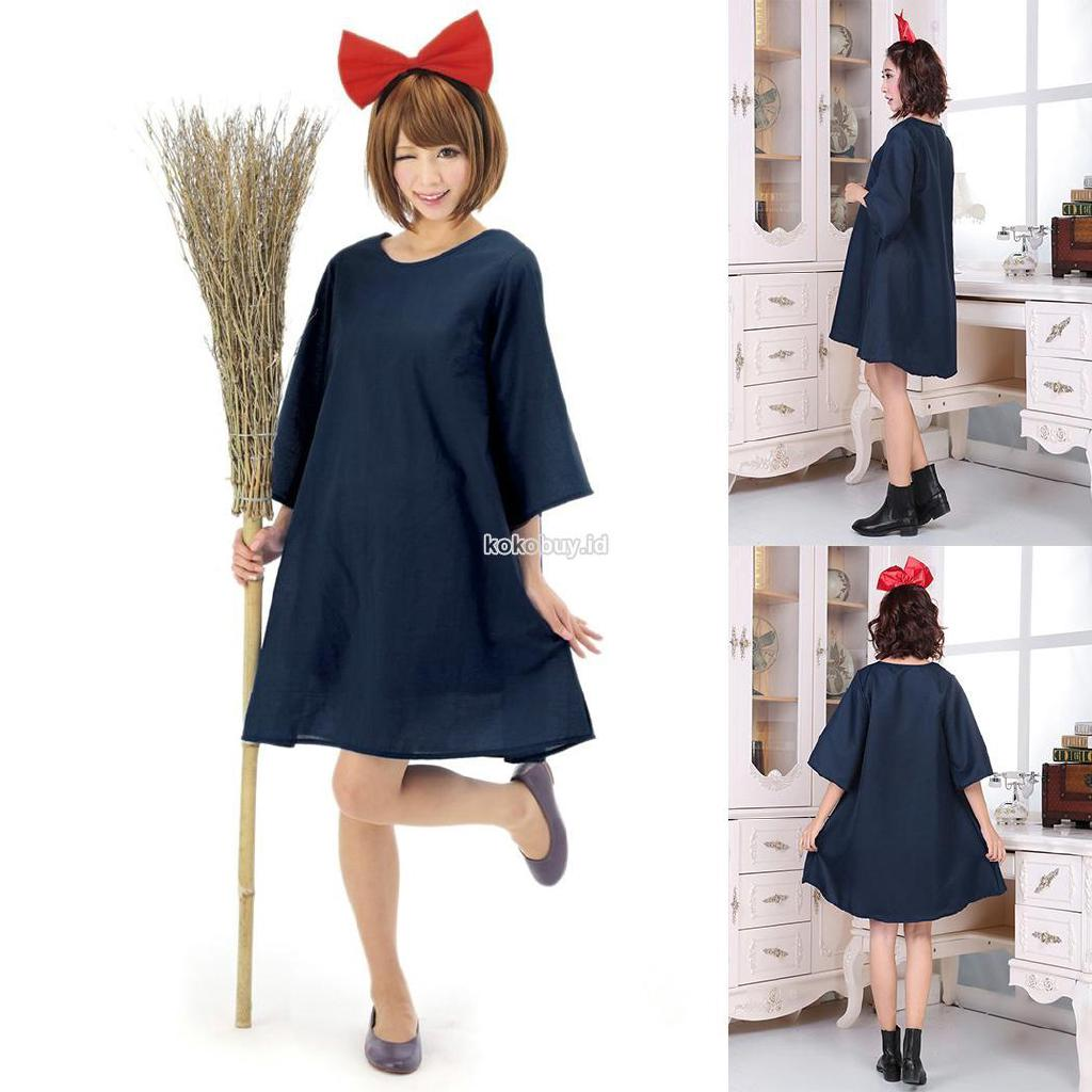 K?I Set Kostum Penyihir Halloween Dress Mini Wanita Oversize Round Neck Lengan Setengah+Bando Pita