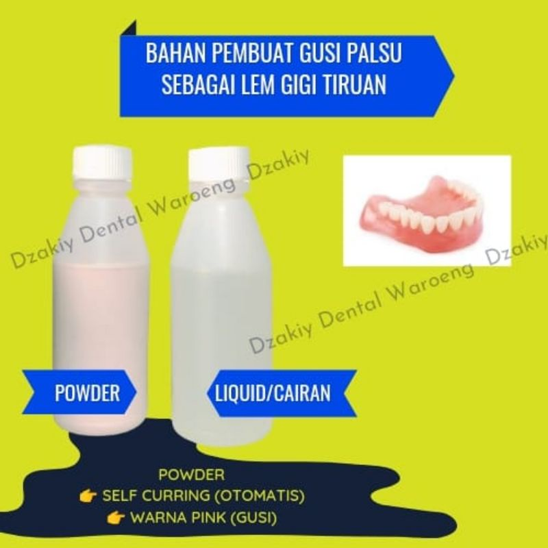 Lem Gigi Palsu Patah Permanen Powder Liquid Self Curring SC Bubuk Cairan Buat Gigi Dental Gusi Palsu
