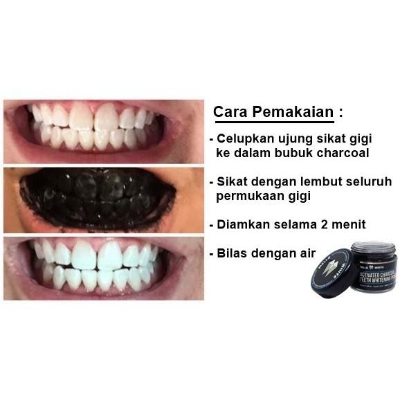 Pemutih Gigi Charcoal Teeth Whitening Powder Organic Actived