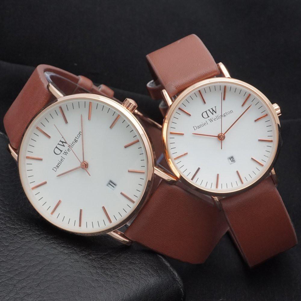 Jual Paket Jam Tangan Couple DW Daniel Wellington Leather Brown hargajam harga  jam sepasang  1d8b86171f