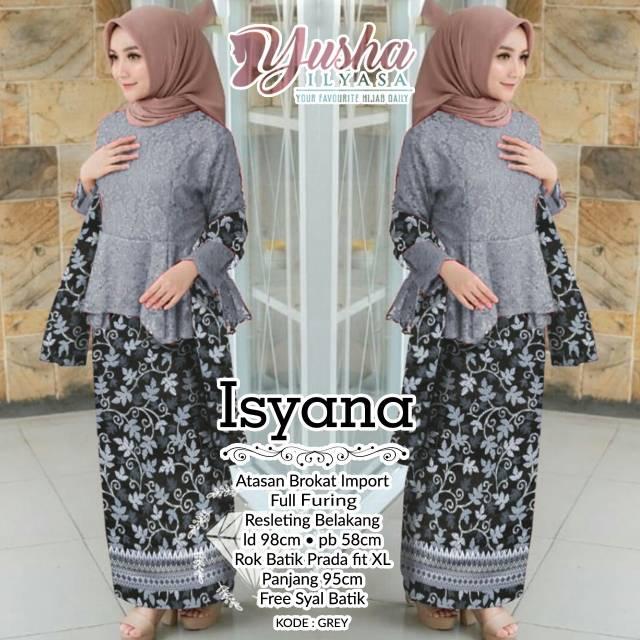 Kebaya Isyana Set Atasan Brokat Import Full Furing Bawahan Batik Prada Free Syal Batik