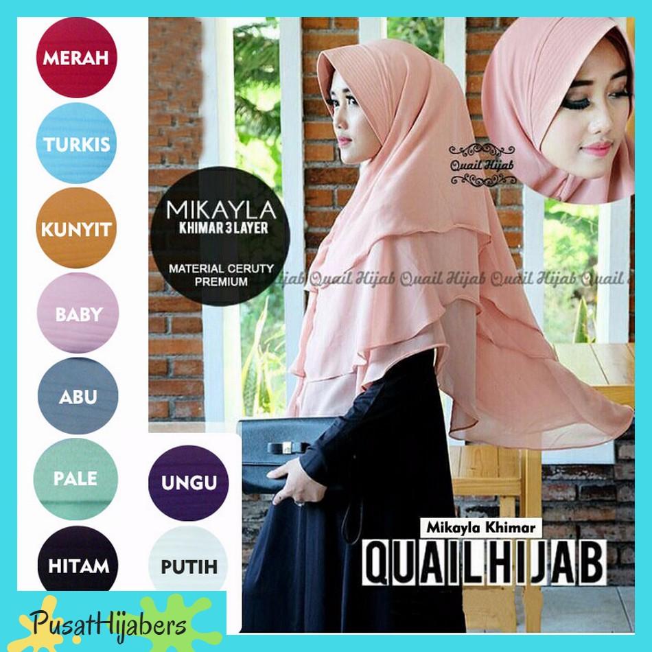 Jilbab Instan Syari Hijab Kerudung Maudy Khimar 3 Layer 3layer Ori Ceruti Non Pet Shopee Indonesia