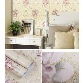 promo wallpaper sticker dinding cream mawar pink elegan