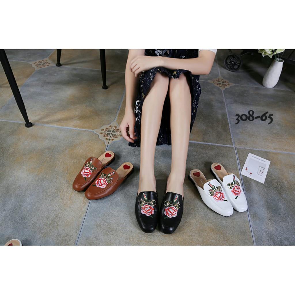 Sandal Gucci Slide On Embroidered Flower Leather Semprem 308-65 ... f5c39ab780