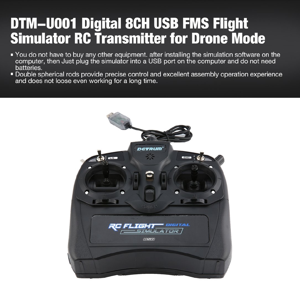 Dtm-u001 USB Digital 8CH FMS Flight Simulator RC Transmitter untuk Drone