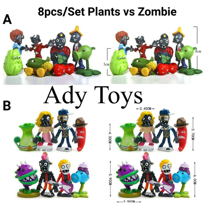 Mainan Boneka Action Figure Rebirth 16x Plants Vs Zombies Bahan Pvc