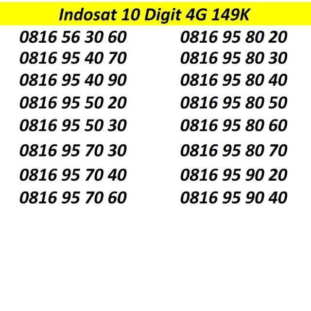 Nomor Cantik Indosat 10 digit Kartu Perdana 4G LTE Ooredoo Nomer im3 mentari non simpati xl