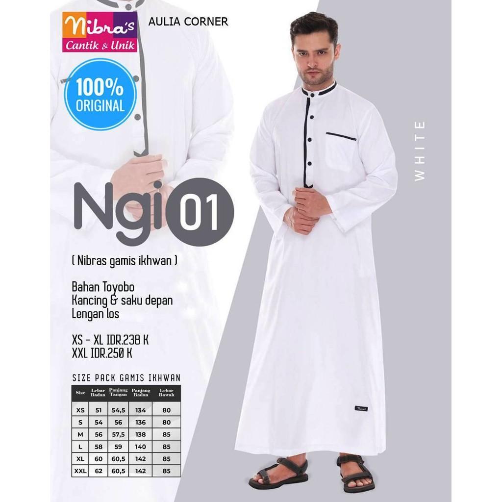 Baju Muslim Gamis Pria Terbaru Nibras NGI 12 White ORIGINAL Busana Muslim  Laki Laki