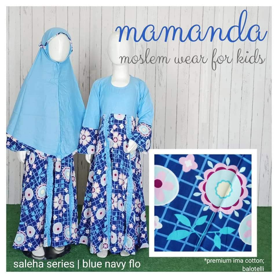 Gamis Anak Blue Navy Flo Saleha Series by Mamanda