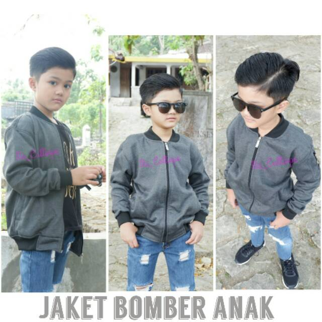 Jaket bomber anak laki-laki atau perempuan size L / XL untuk usia 6-10tahun | Shopee Indonesia