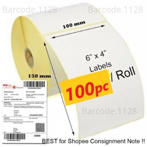 label thermal label stiker barcode label pengiriman 100x150 / 300pcs thermal