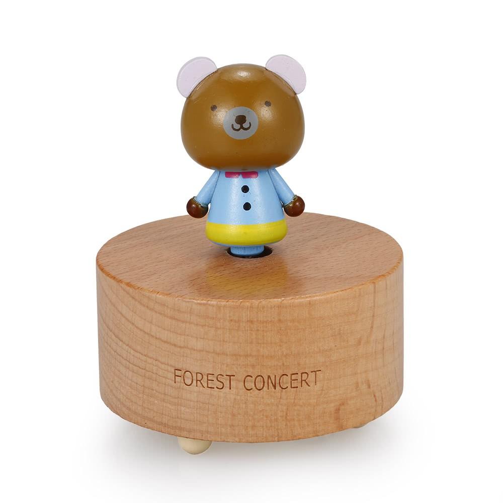 Kotak Musik Kayu Bentuk Kartun Hewan Beruang Lucu