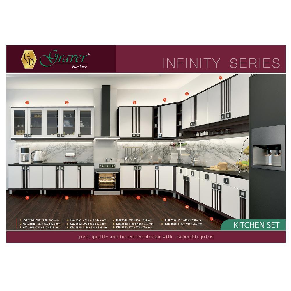 Bergaransi ksa 2562 kitchen set pintu 2 atas kaca infinity graver shopee indonesia
