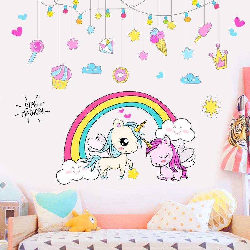 Stiker Dinding Desain Unicorn Pelangi Bahan Pvc Anti Air Untuk Dekorasi Kamar Anak Perempuan Shopee Indonesia