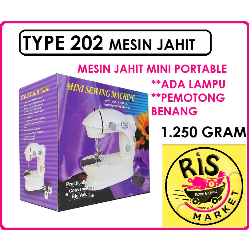 MESIN JAHIT MINI PORTABLE TYPE 202 / MESIN JAHIT PORTABLE FHSM 202 ( FREE BUBBLE) | Shopee Indonesia