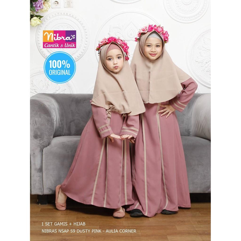 Grosir Baju Gamis Anak Terbaru Nibras Nsap 9 Dusty Pink ORIGINAL Gambar  Baju Gamis Anak Kecil