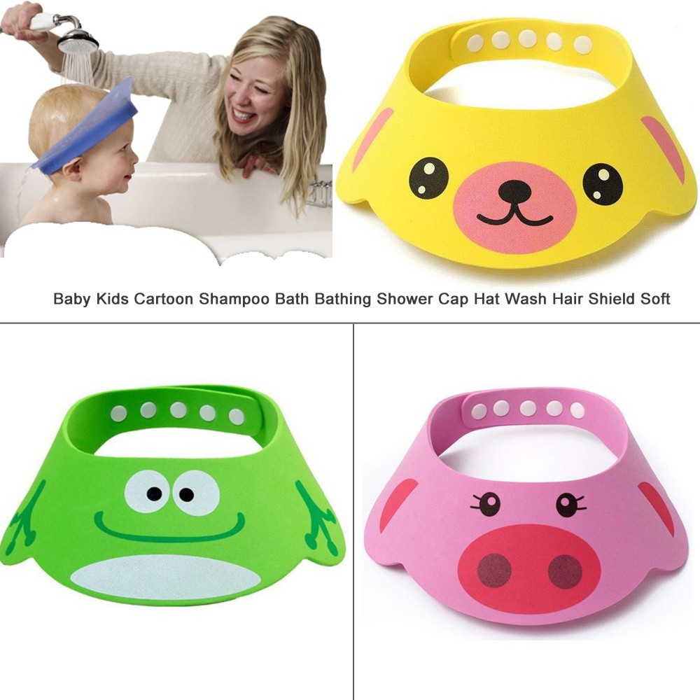 Topi Shower Mandi Pelindung Mata Wajah Gambar Kartun Binatang Untuk Cuci Rambut Anak Bayi