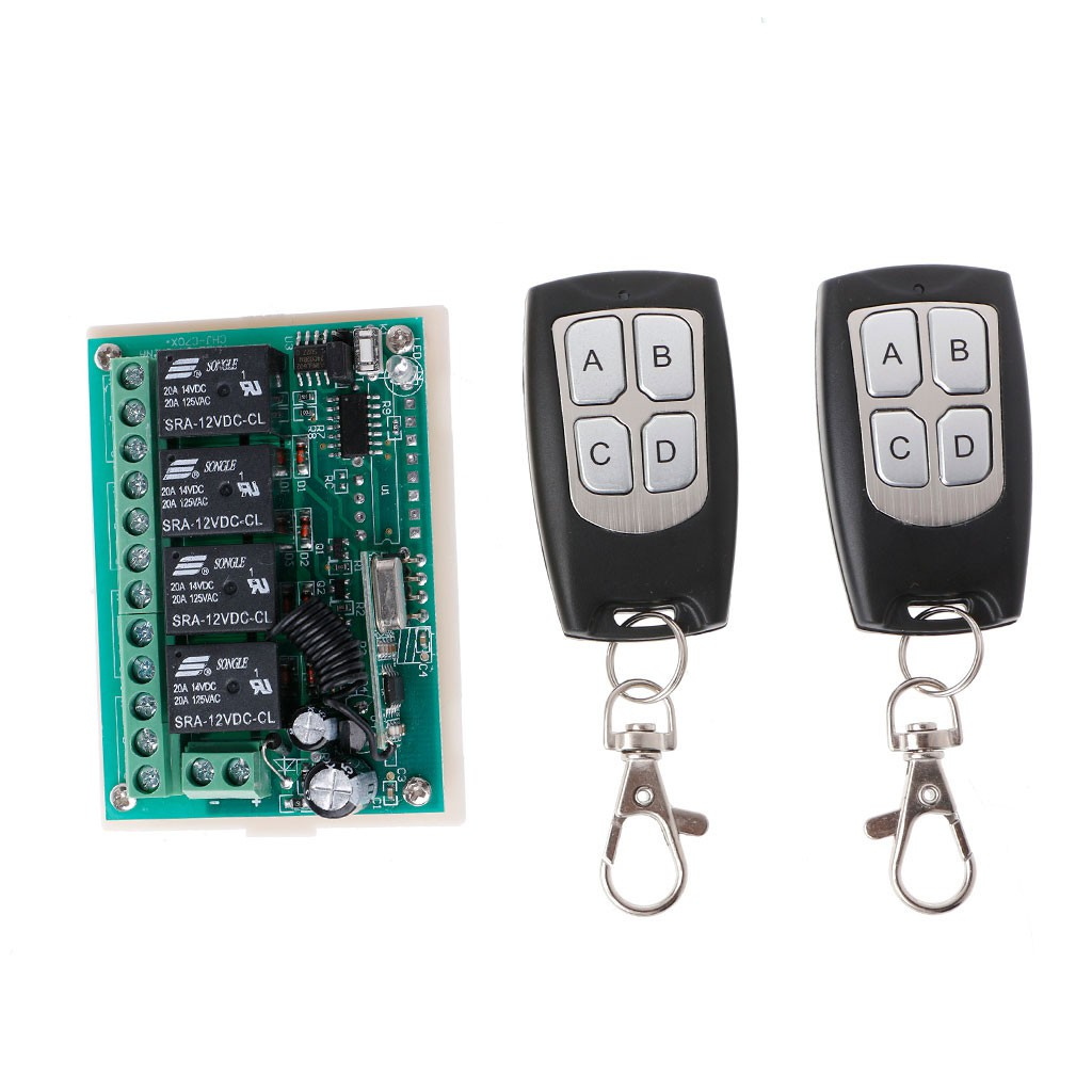 24V//12V 4CH Relay Wireless Switch Remote Control ON//OFF Transmitter Receiver Kit