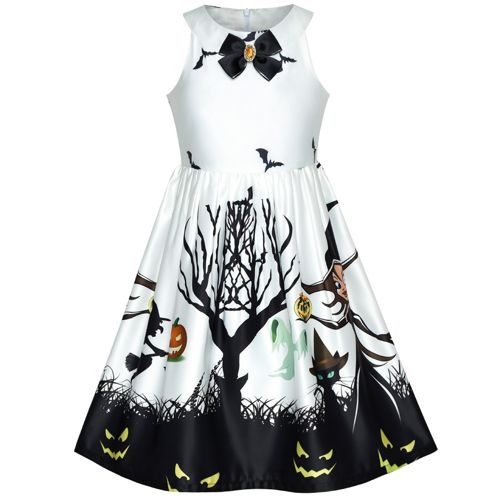 Baju Anak Sunny Fashion Dress Anak Perempuan Halloween Penyihir Kelelawar Labu kuning Kostum Ungu ...