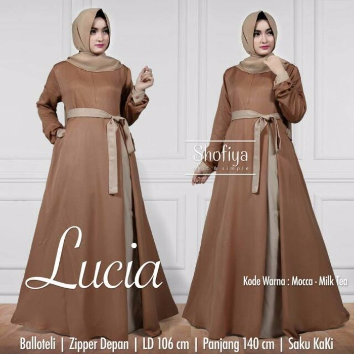 Baju Mariana Polka Dress Navy Grosir Baju Muslim Gamis Kekinian Murah Long  Dress Wanita  3c92413cf3