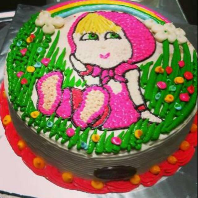 Kue Ulang Tahun Karakter Anak Perempuan Ukuran 20x20 Free Pisau Dan Lilin Angka