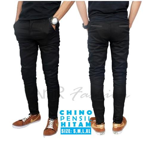 Celana Panjang Chino Pensil Pria - Hitam   Shopee Indonesia