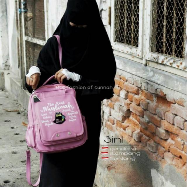 Tas wanita muslimah shalihah 2 in 1 slempang ransel syahla magenta multi  fungsi cantik  a045eba4c6