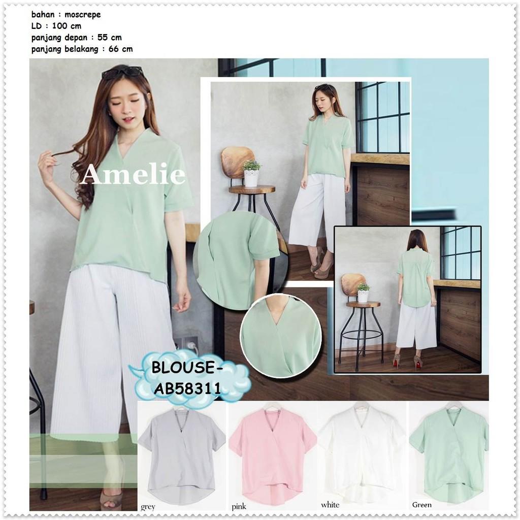 Baju Atasan Santai Blouse Garis Bunga Korea Import AB231312  efae2b0321