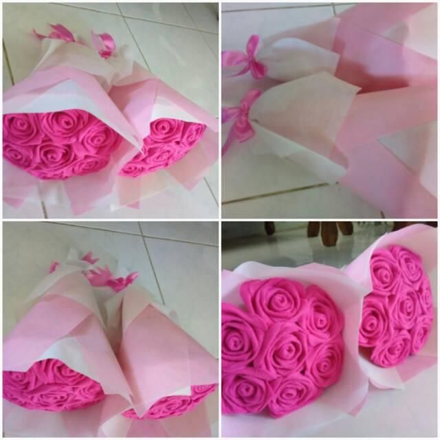 Buket Bunga Mawar Dari Kain Flanel Shopee Indonesia