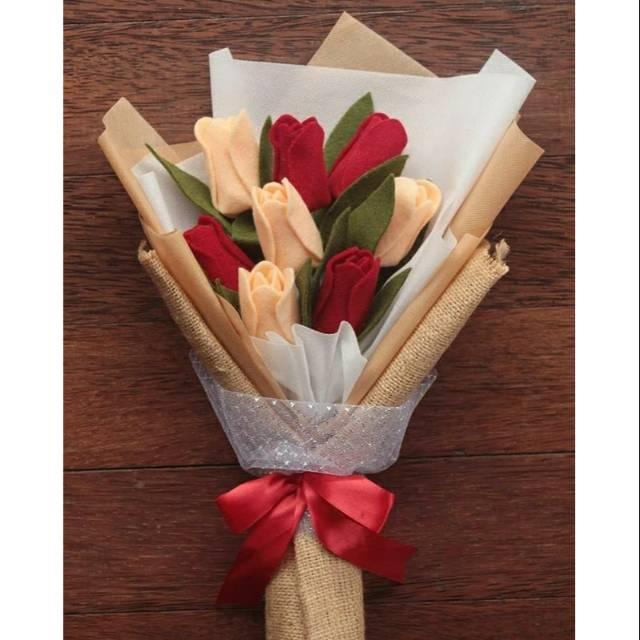 Bunga Kain Flanel Buket Tulip Shopee Indonesia