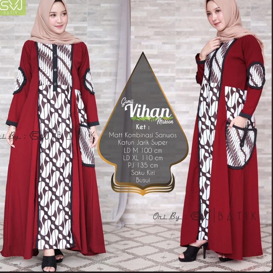 Model Baru Gamis Vihan Batik Solo Fashion Wanita Gamis Batik Modern Dress  Batik Kombinasi Ori By SVJ