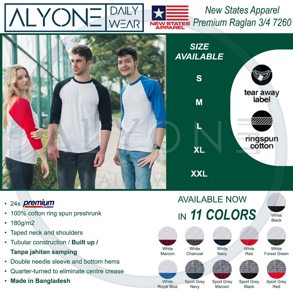 Kaos Polos Import Nsa New States Apparel Softstyle 3600 7260 Raglan Premium Original  Smlxl S M L Xl Shopee Indonesia