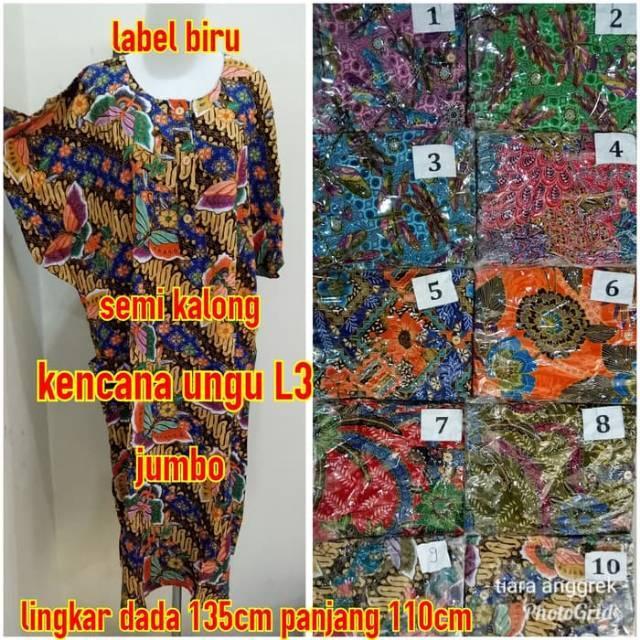 Daster Batik Kencana Ungu 08 Super Asli Label Biru 4 Kancing Lengan Pendek  Jumbo  50d5867e6a