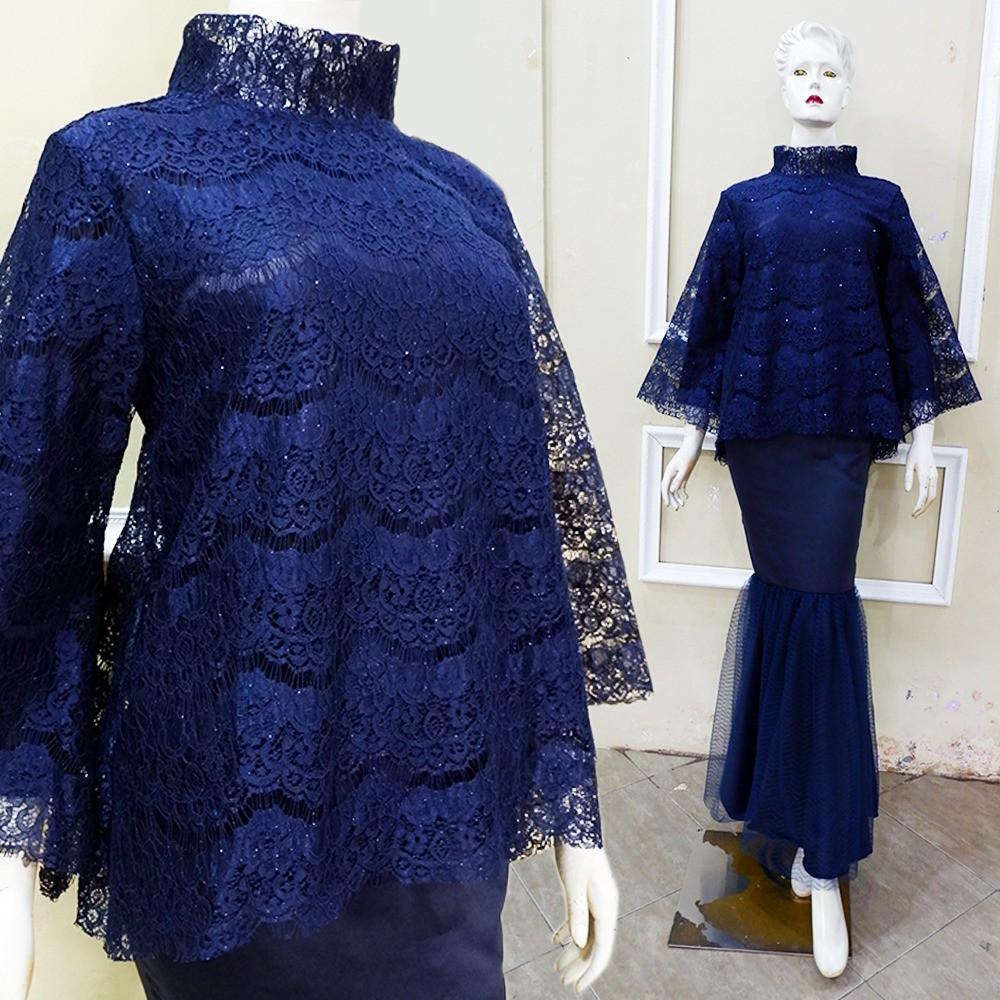 Set Kebaya Brokat Linen Kombinasi Rok Duyung Batik Modern Shopee