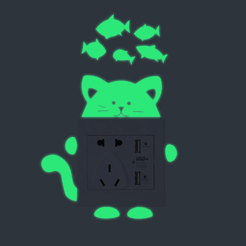 [pumao] Stiker Dinding PVC Glow In The Dark Gambar Kartun Kucing Untuk Saklar Lampu