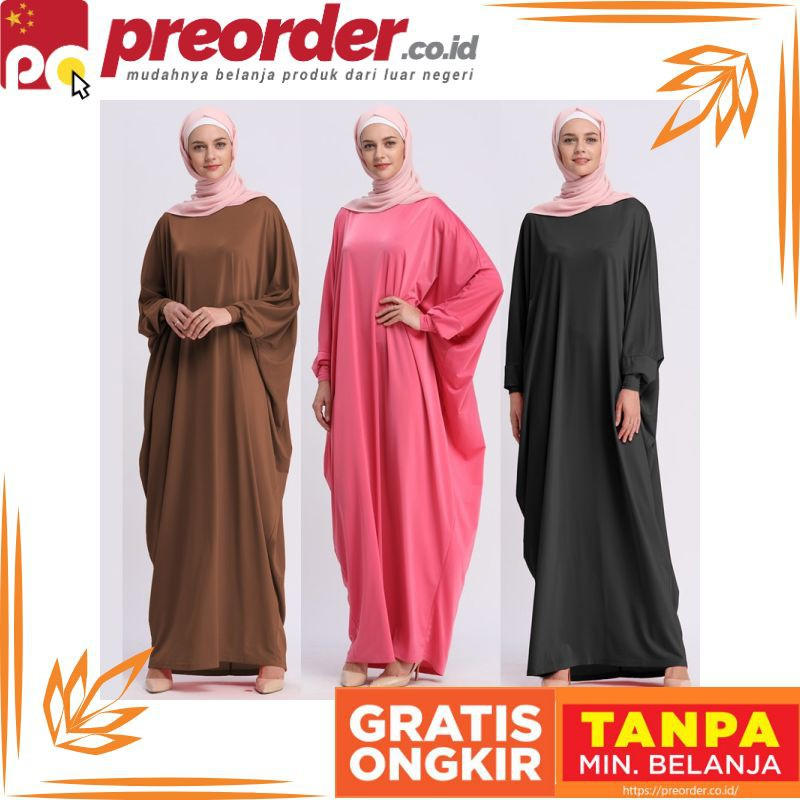 FreeOngkirTanpaSyarat  2018 Batwing Abaya Dubai Muslim Long Dress Wanita  Patchwork Lengan  55a8beefba