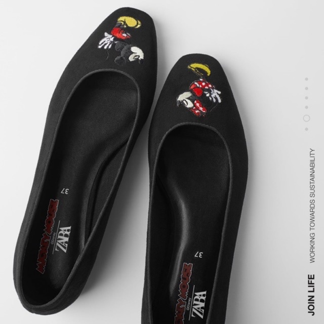Zara 087 Mickey Mouse Flat Shoes Shopee Indonesia