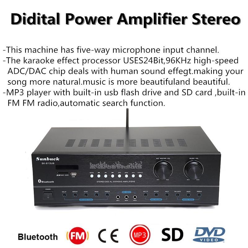 SK-810UB Power Amplifier Penerima FM Stereo USB SD Digital Profesional  untuk Karaoke