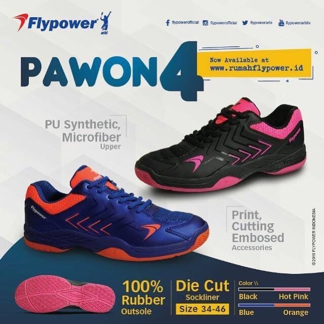 huge selection of cbb13 34b3e 100% Original !! Flypower Pawon 4 Sepatu Badminton Bulutangkis