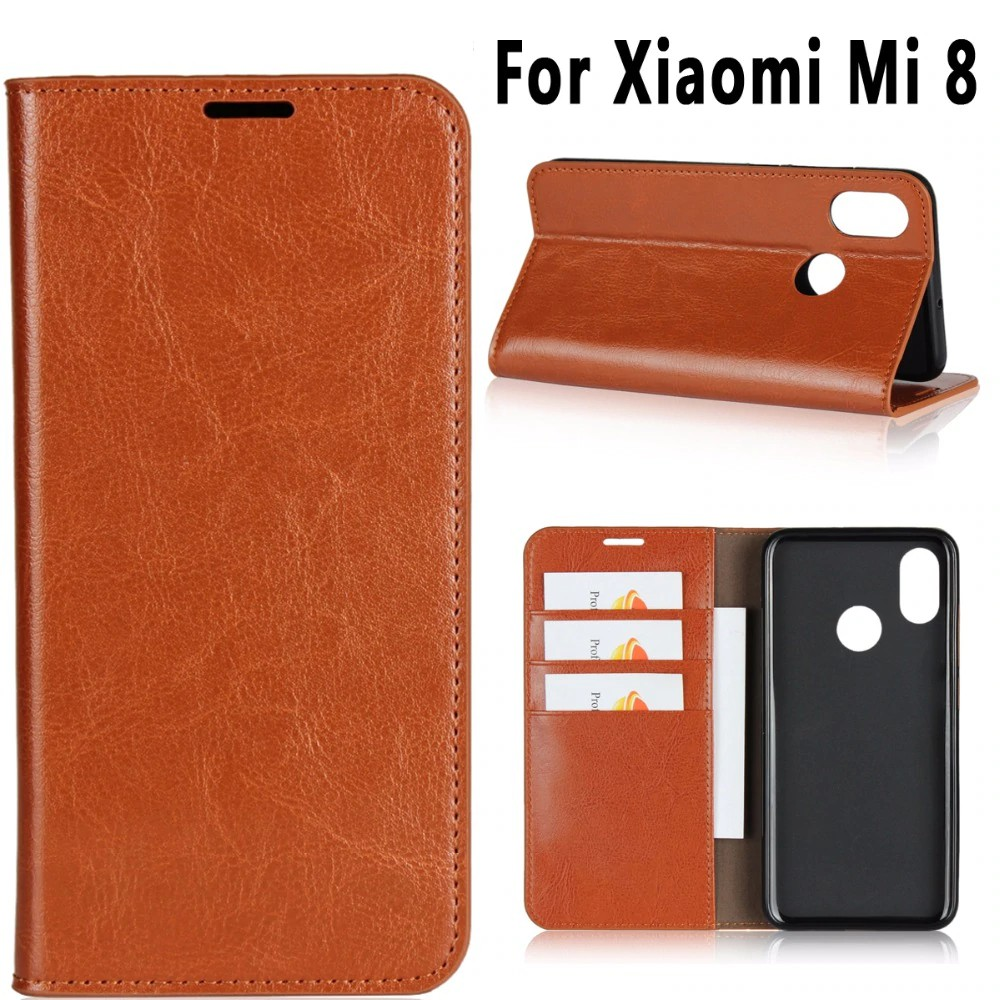 [ Free Ongkir ] Premium Crazy Horse Pattern Genuine Leather Flip Bag Shell Cover Case for Xiaomi Mi
