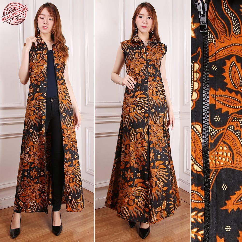 Sb Collection Gamis Maxi Dress Jenifer Cardigan Rompi Longdress Terusan Outer Blazer Batik Wanita