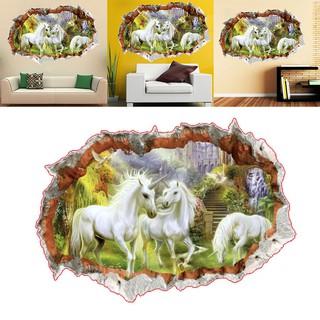 Stiker Dinding Mural Desain Kuda Unicorn Untuk Kamar Tidur Ruang Tamu Shopee Indonesia
