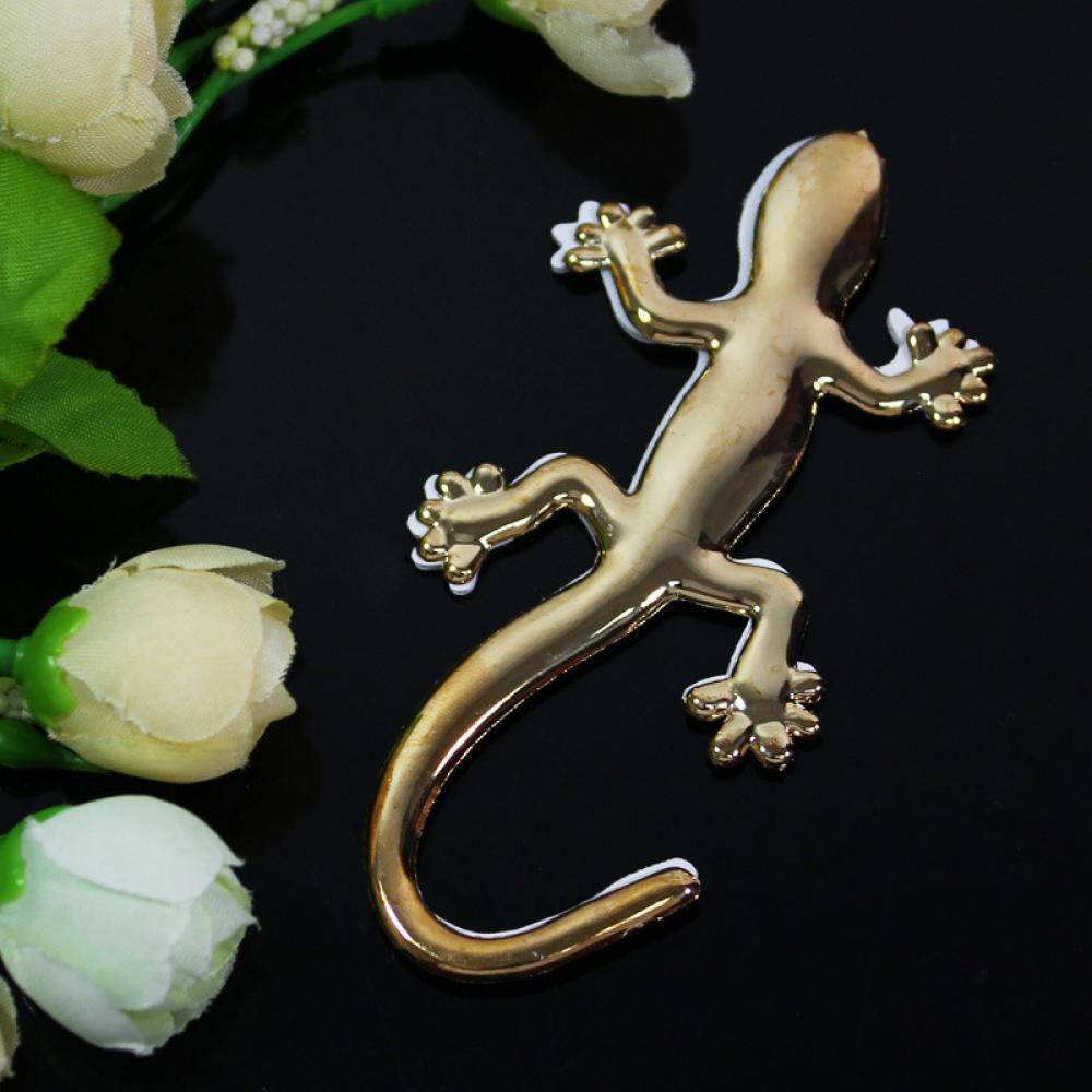 1X 3D Car Auto Gecko Shape Lizard Chrome Silver Alloy Badge Emblem Decal Sticker