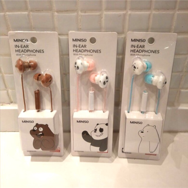 d4ecf64a1cc MINISO We Bare Bears earphone | Shopee Indonesia