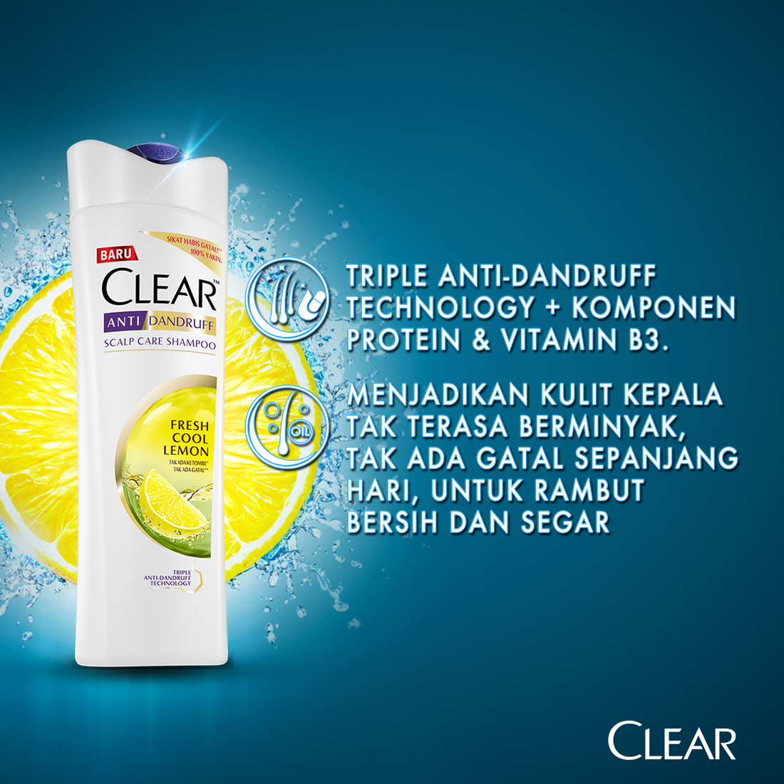 CLEAR Shampoo Anti Bacterial Fresh Cool Lemon 160 ml-5