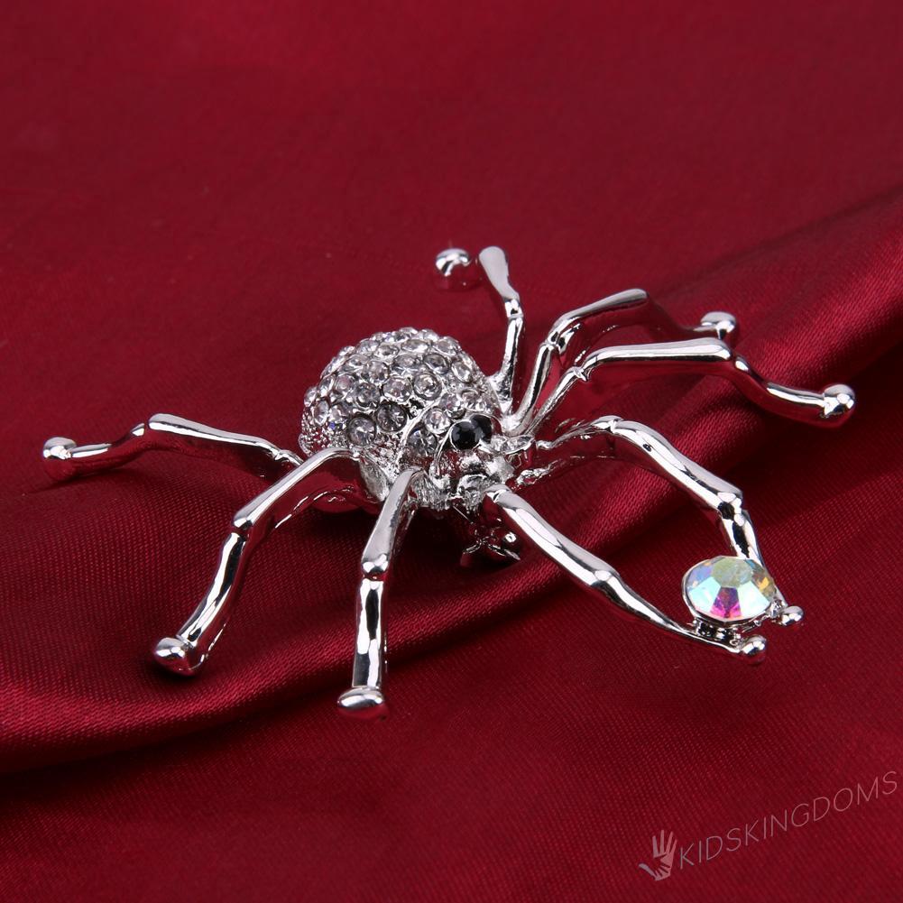White Spider Silver Plated Fashion Brooches Jewelry Elegant Crystal Brooch Pi ki