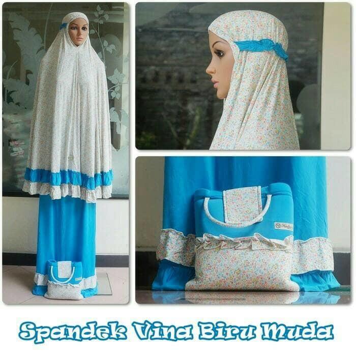 Azurra Shop Mukena Spandek Sutra Vina Biru Mekenah Dewasa Fashion Muslim Murah sekarang Anda akan menghemat